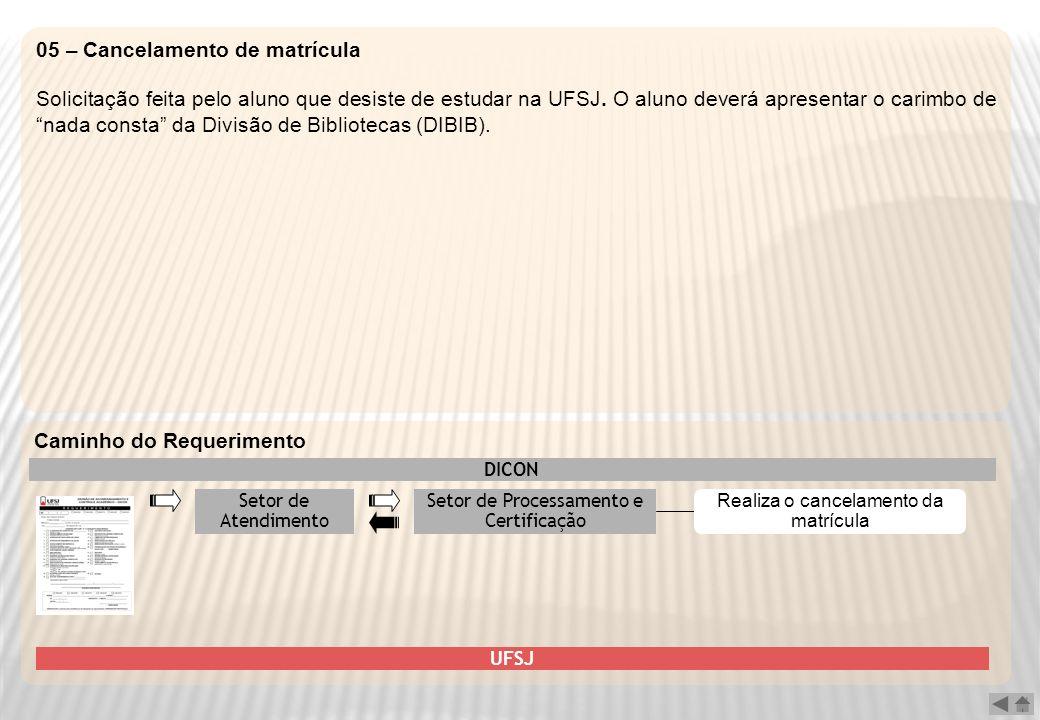 05 – Cancelamento de matrícula Solicitação feita pelo aluno que desiste de estudar na UFSJ. O aluno deverá apresentar o carimbo de nada consta da Divi