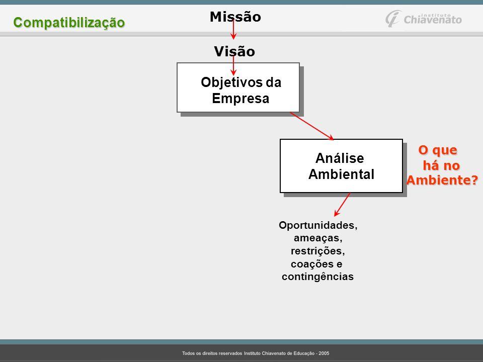 Missão Visão Objetivos da Empresa Análise Ambiental O que há no há noAmbiente? Oportunidades, ameaças, restrições, coações e contingências Compatibili