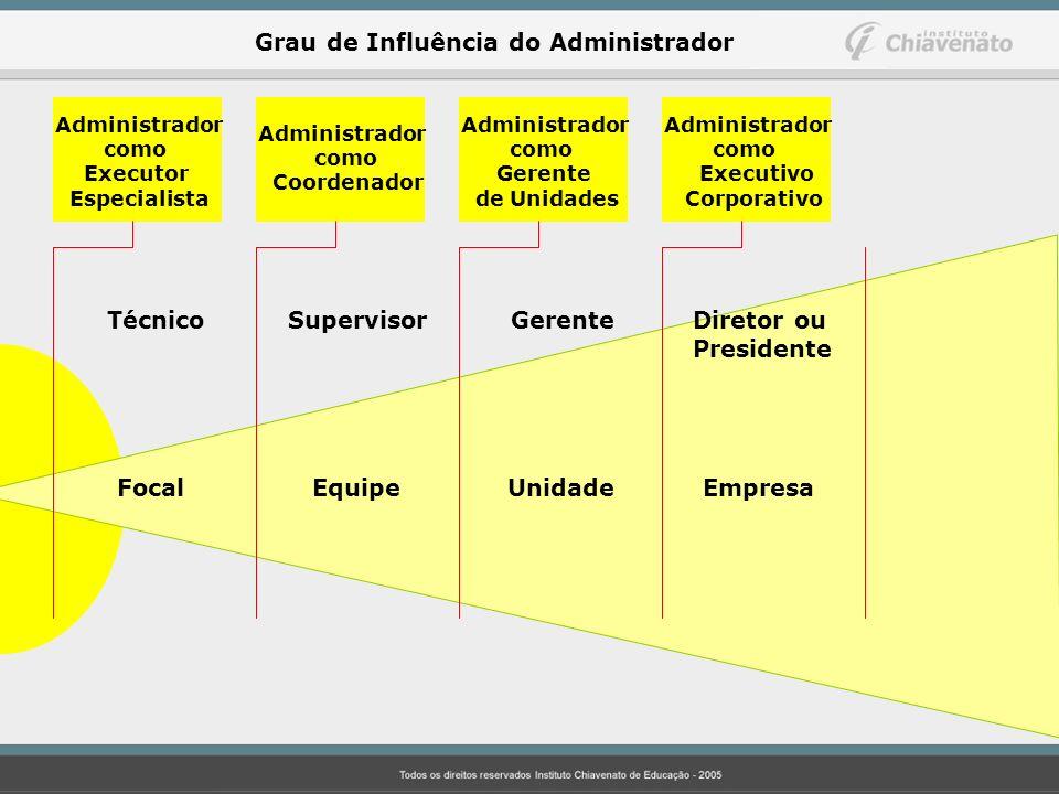 Administrador como Executor Especialista Administrador como Executivo Corporativo Administrador como Gerente de Unidades Administrador como Coordenado
