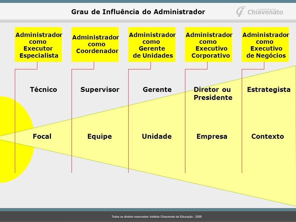 Administrador como Executor Especialista Administrador como Executivo de Negócios Administrador como Executivo Corporativo Administrador como Gerente