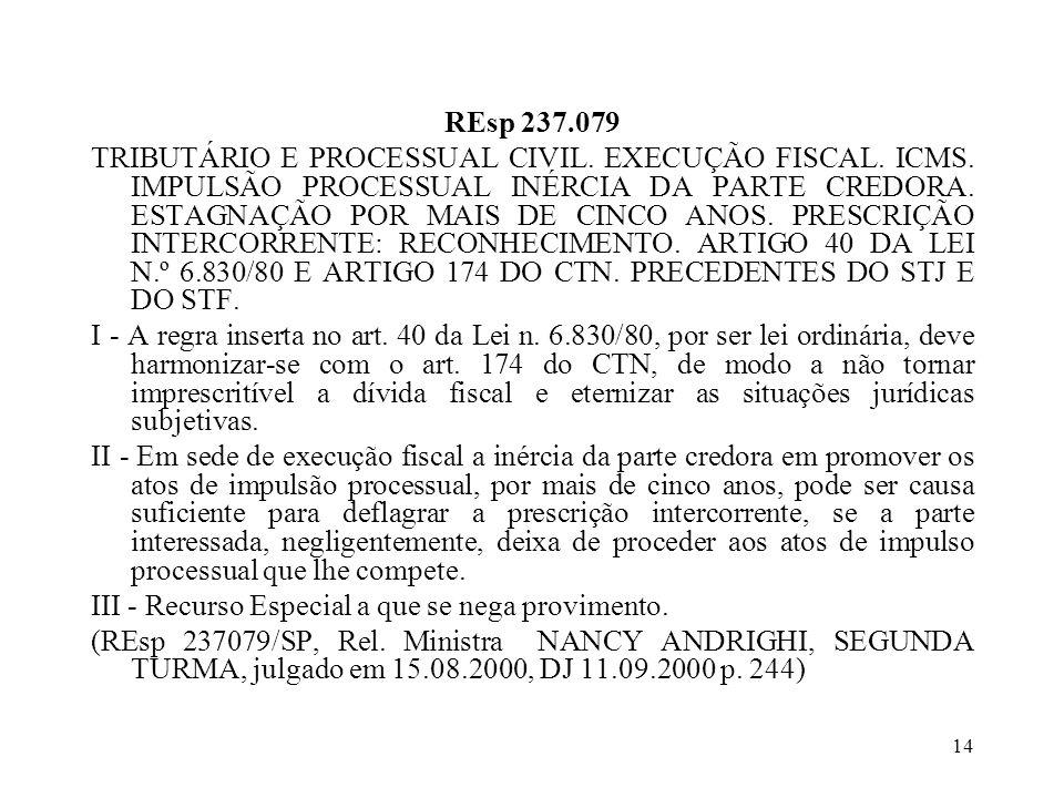 14 REsp 237.079 TRIBUTÁRIO E PROCESSUAL CIVIL.EXECUÇÃO FISCAL.