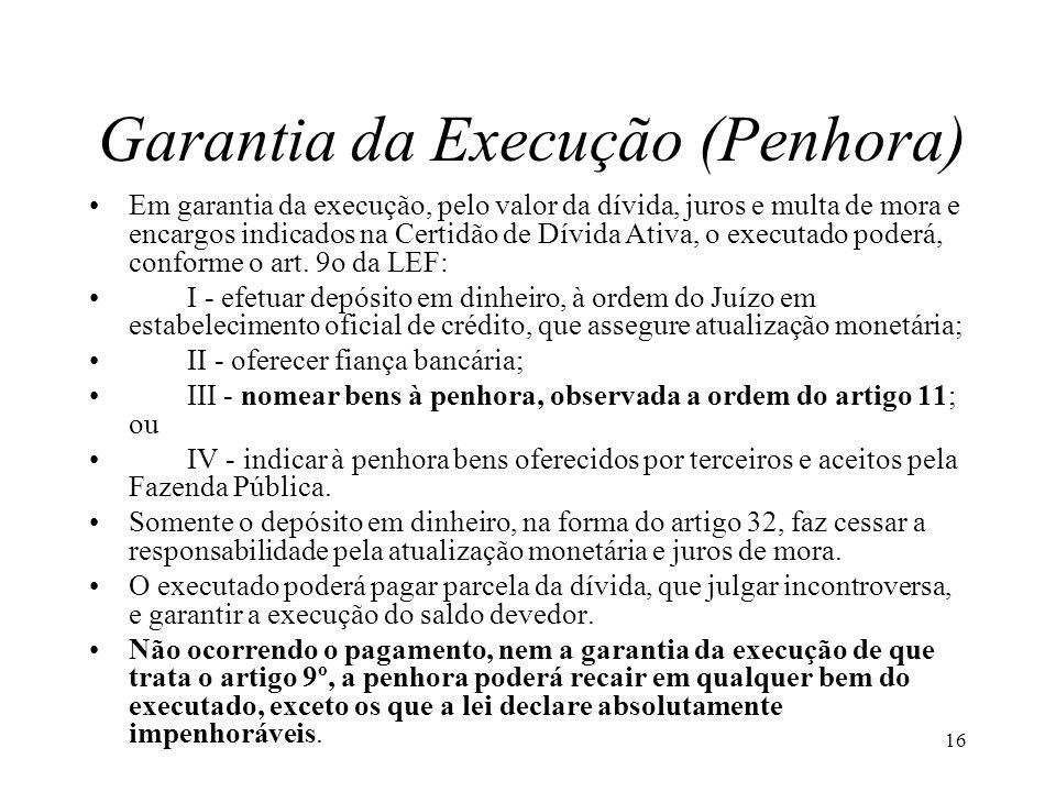 16 Garantia da Execução (Penhora) Em garantia da execução, pelo valor da dívida, juros e multa de mora e encargos indicados na Certidão de Dívida Ativa, o executado poderá, conforme o art.