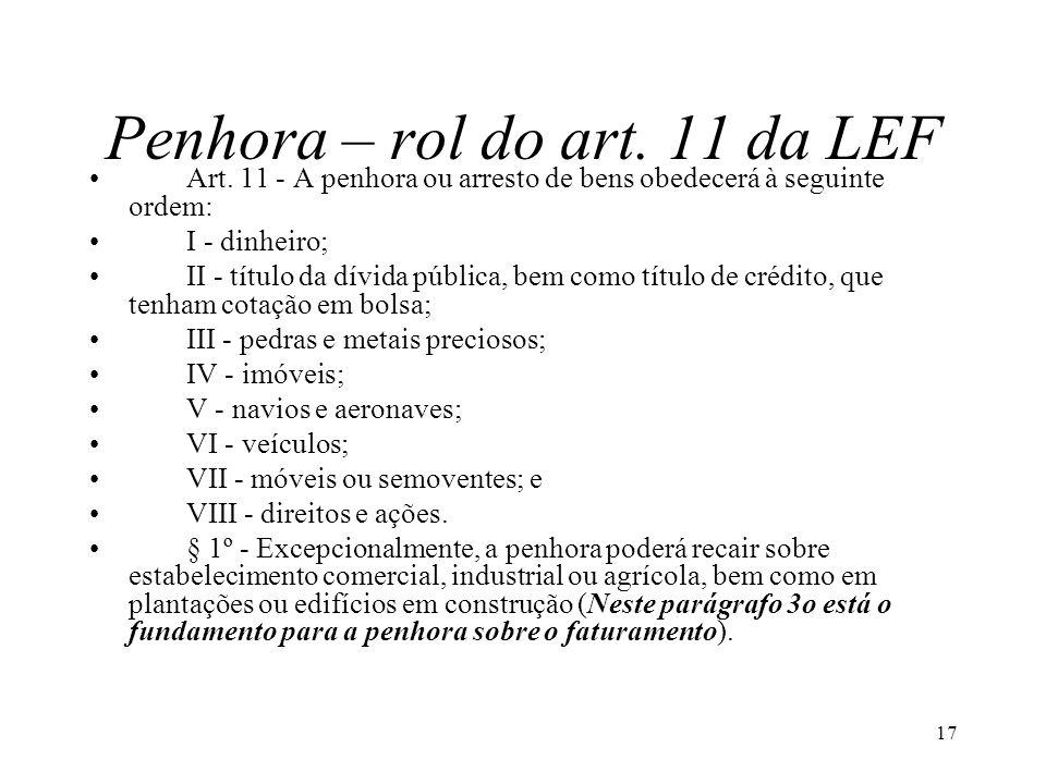 17 Penhora – rol do art. 11 da LEF Art. 11 - A penhora ou arresto de bens obedecerá à seguinte ordem: I - dinheiro; II - título da dívida pública, bem