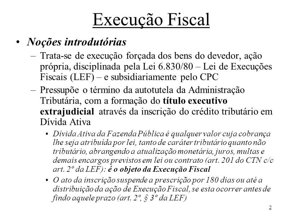 2 Execução Fiscal Noções introdutórias –Trata-se de execução forçada dos bens do devedor, ação própria, disciplinada pela Lei 6.830/80 – Lei de Execuç