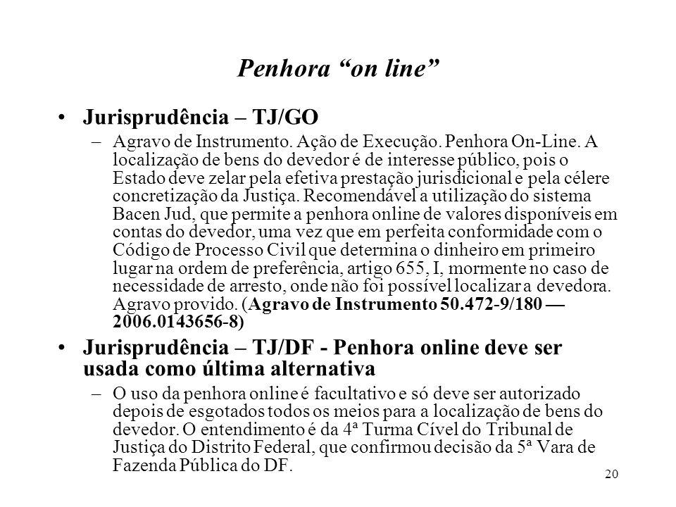 20 Penhora on line Jurisprudência – TJ/GO –Agravo de Instrumento.