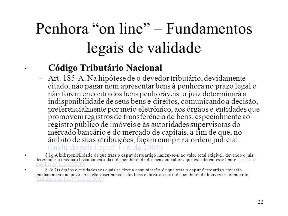 22 Penhora on line – Fundamentos legais de validade Código Tributário Nacional –Art. 185-A. Na hipótese de o devedor tributário, devidamente citado, n