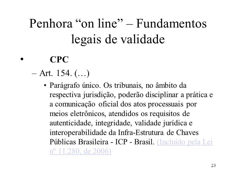 23 Penhora on line – Fundamentos legais de validade CPC –Art. 154. (…) Parágrafo único. Os tribunais, no âmbito da respectiva jurisdição, poderão disc