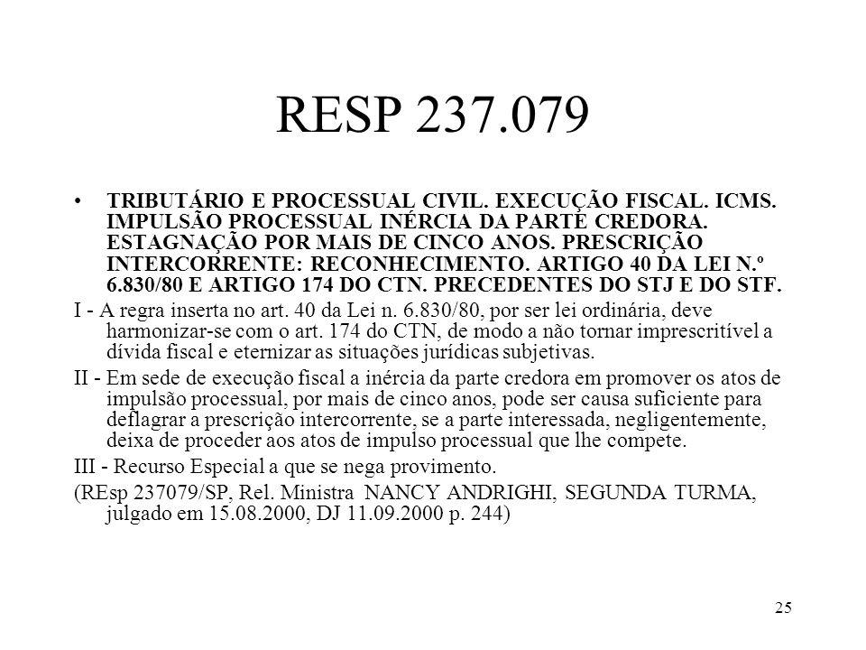 25 RESP 237.079 TRIBUTÁRIO E PROCESSUAL CIVIL. EXECUÇÃO FISCAL. ICMS. IMPULSÃO PROCESSUAL INÉRCIA DA PARTE CREDORA. ESTAGNAÇÃO POR MAIS DE CINCO ANOS.