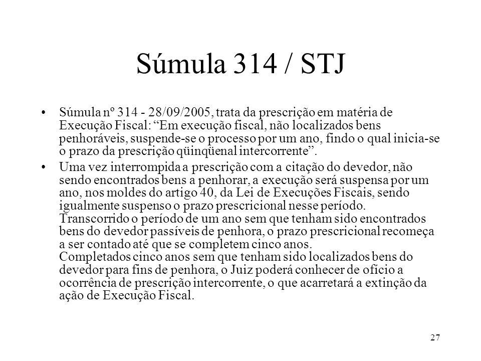 27 Súmula 314 / STJ Súmula nº 314 - 28/09/2005, trata da prescrição em matéria de Execução Fiscal: Em execução fiscal, não localizados bens penhoráveis, suspende-se o processo por um ano, findo o qual inicia-se o prazo da prescrição qüinqüenal intercorrente.