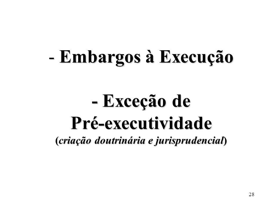 28 - Embargos à Execução - Exceção de Pré-executividade (criação doutrinária e jurisprudencial)
