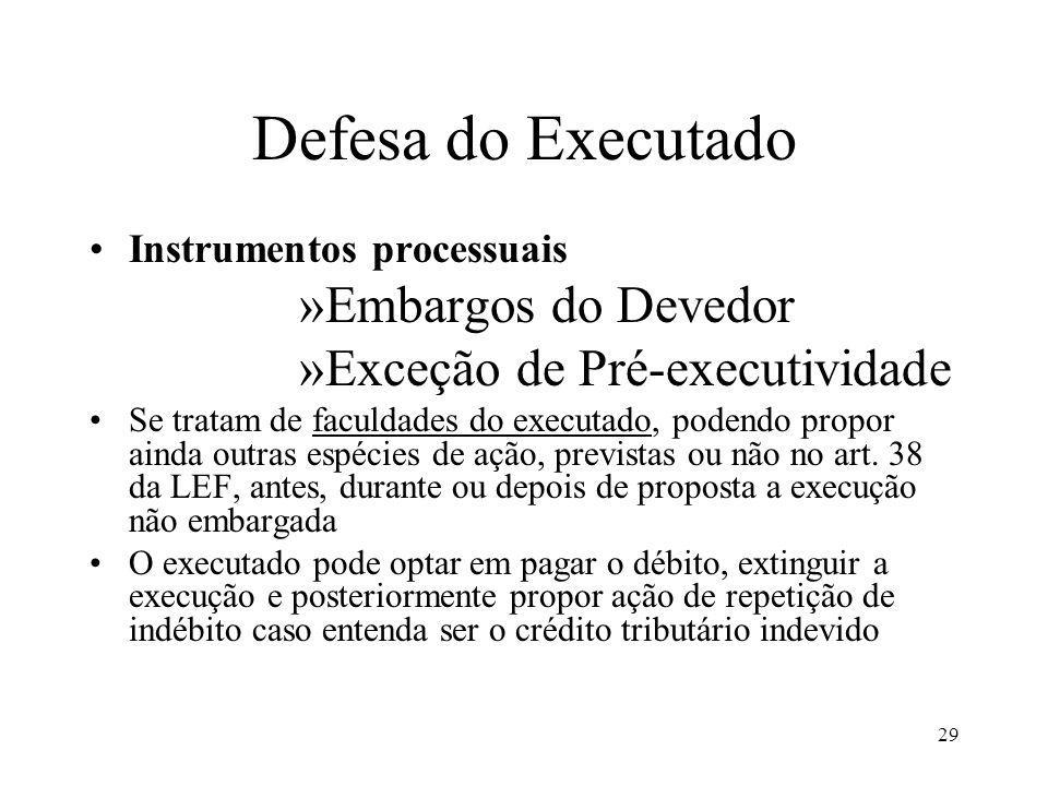 29 Defesa do Executado Instrumentos processuais »Embargos do Devedor »Exceção de Pré-executividade Se tratam de faculdades do executado, podendo propo
