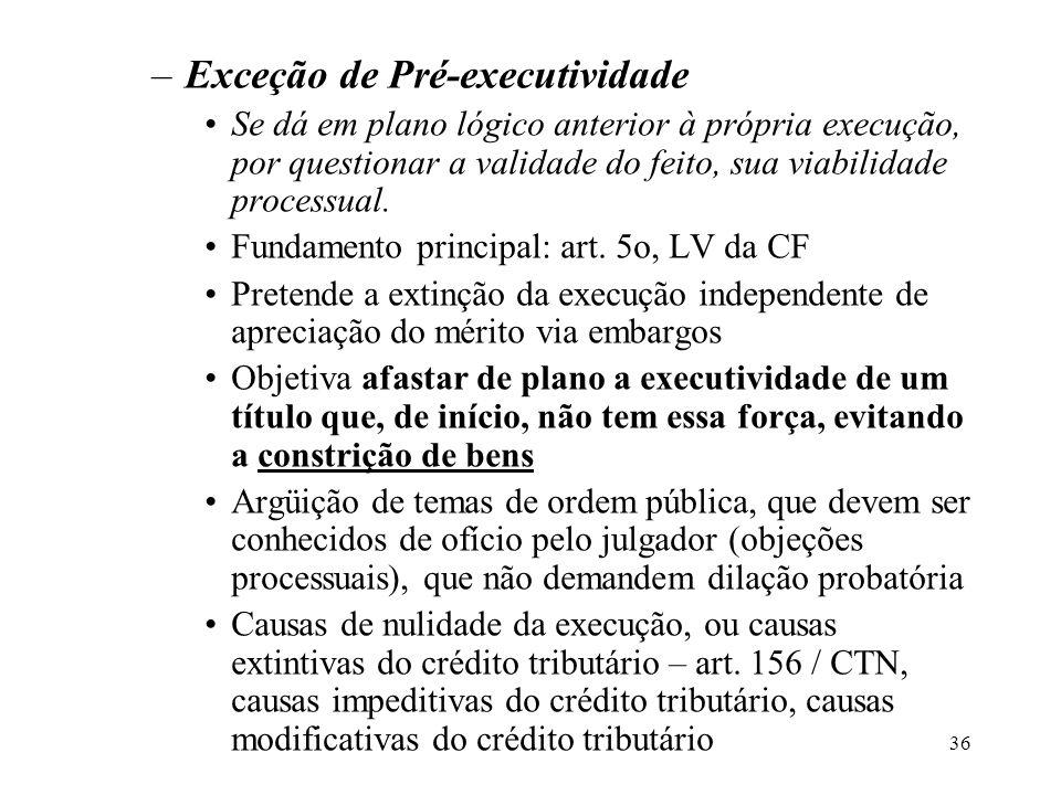 36 –Exceção de Pré-executividade Se dá em plano lógico anterior à própria execução, por questionar a validade do feito, sua viabilidade processual. Fu
