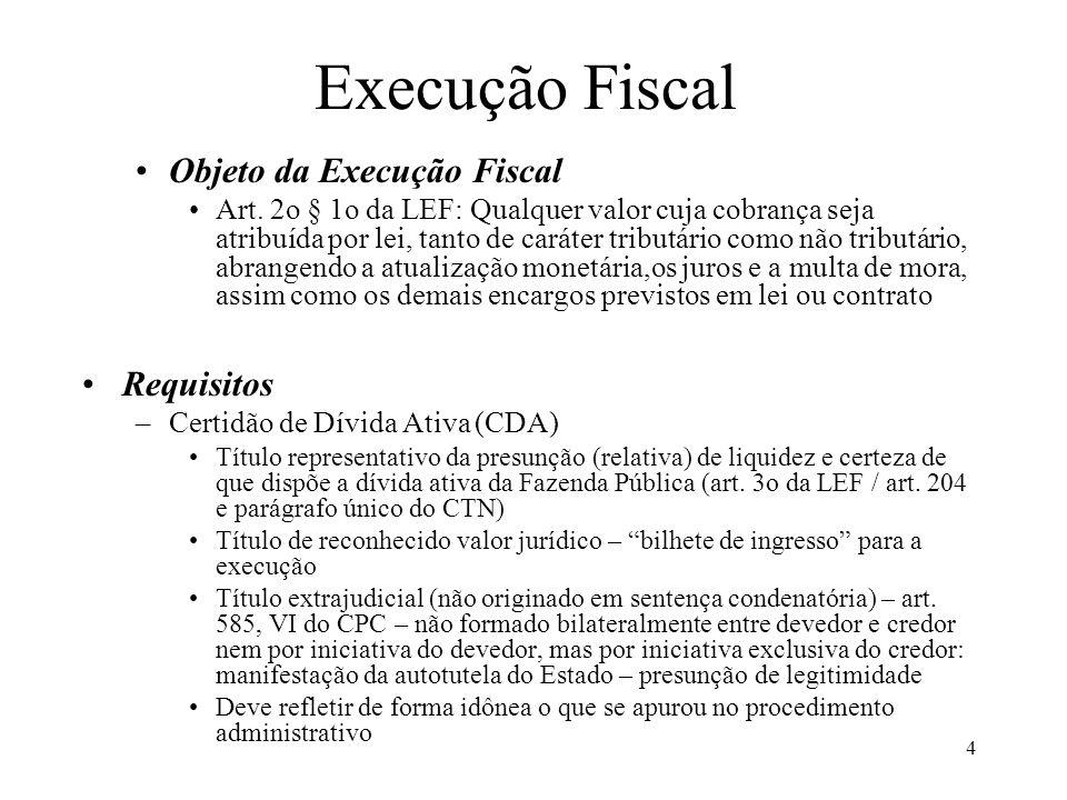 4 Objeto da Execução Fiscal Art. 2o § 1o da LEF: Qualquer valor cuja cobrança seja atribuída por lei, tanto de caráter tributário como não tributário,