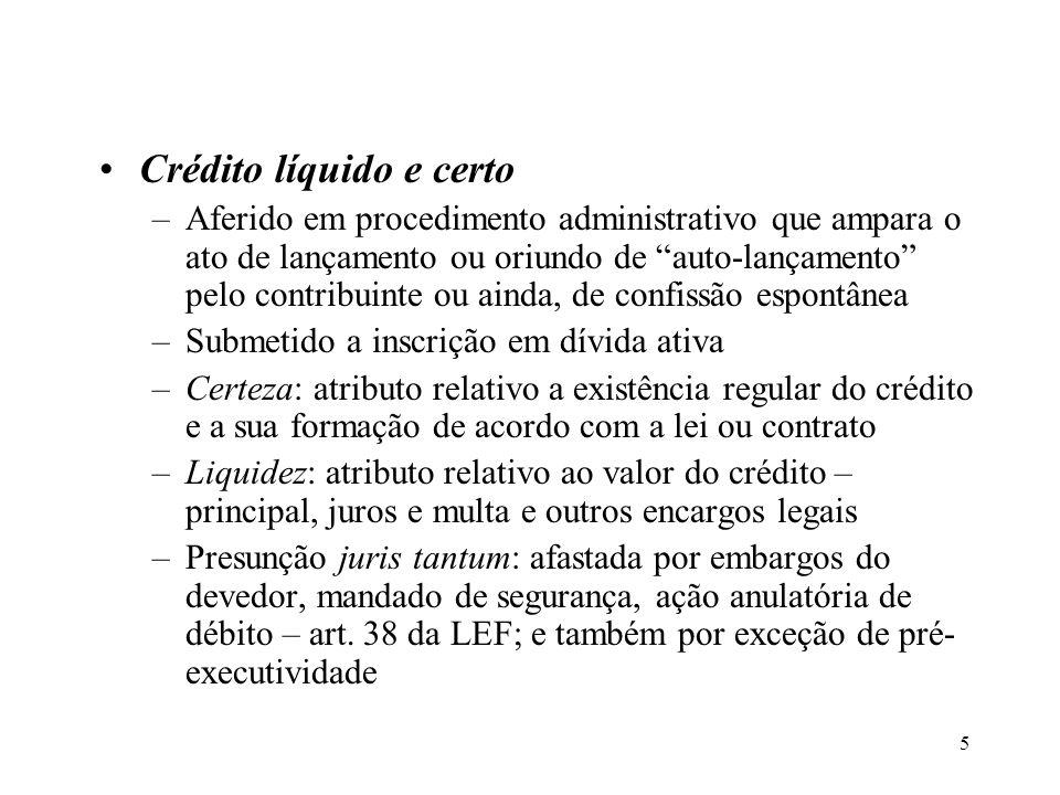 5 Crédito líquido e certo –Aferido em procedimento administrativo que ampara o ato de lançamento ou oriundo de auto-lançamento pelo contribuinte ou ai