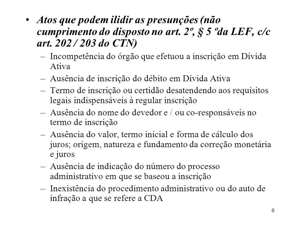 6 Atos que podem ilidir as presunções (não cumprimento do disposto no art. 2º, § 5 ºda LEF, c/c art. 202 / 203 do CTN) –Incompetência do órgão que efe