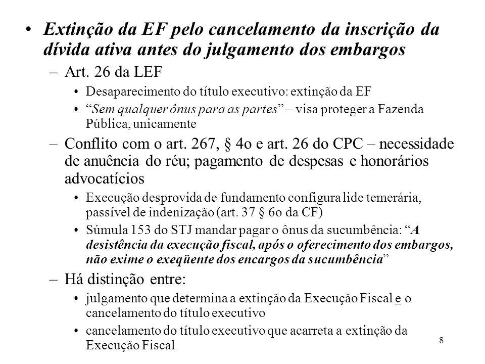 8 Extinção da EF pelo cancelamento da inscrição da dívida ativa antes do julgamento dos embargos –Art. 26 da LEF Desaparecimento do título executivo: