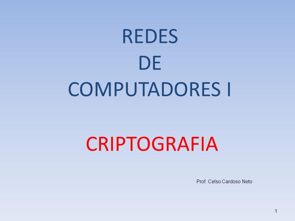 CRIPTOGRAFIA Prof. Celso Cardoso Neto 1 REDES DE COMPUTADORES I