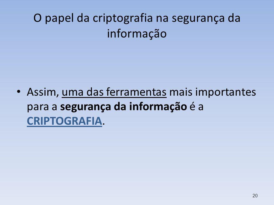 O papel da criptografia na segurança da informação Assim, uma das ferramentas mais importantes para a segurança da informação é a CRIPTOGRAFIA. 20