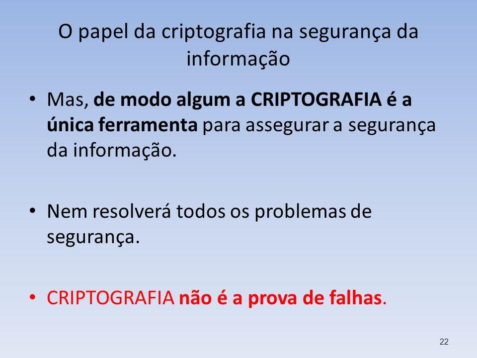 O papel da criptografia na segurança da informação Mas, de modo algum a CRIPTOGRAFIA é a única ferramenta para assegurar a segurança da informação. Ne