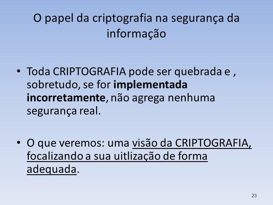 O papel da criptografia na segurança da informação Toda CRIPTOGRAFIA pode ser quebrada e, sobretudo, se for implementada incorretamente, não agrega ne