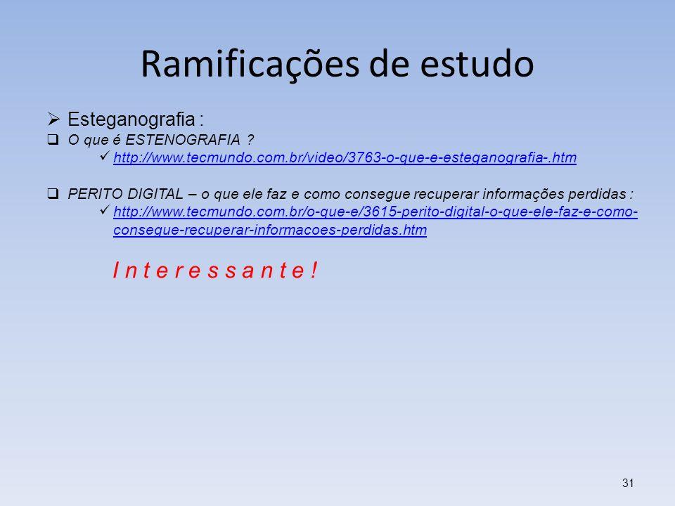 Ramificações de estudo 31 Esteganografia : O que é ESTENOGRAFIA ? http://www.tecmundo.com.br/video/3763-o-que-e-esteganografia-.htm PERITO DIGITAL – o