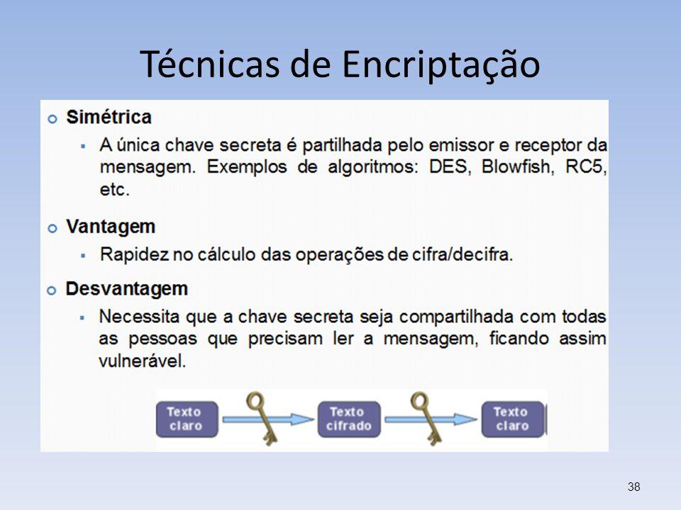 Técnicas de Encriptação 38