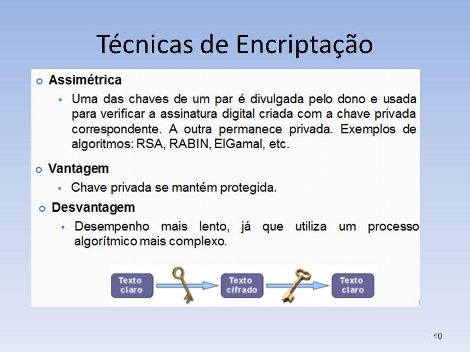 Técnicas de Encriptação 40