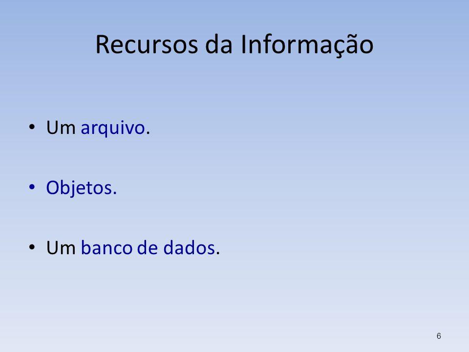 Recursos da Informação Um arquivo. Objetos. Um banco de dados. 6