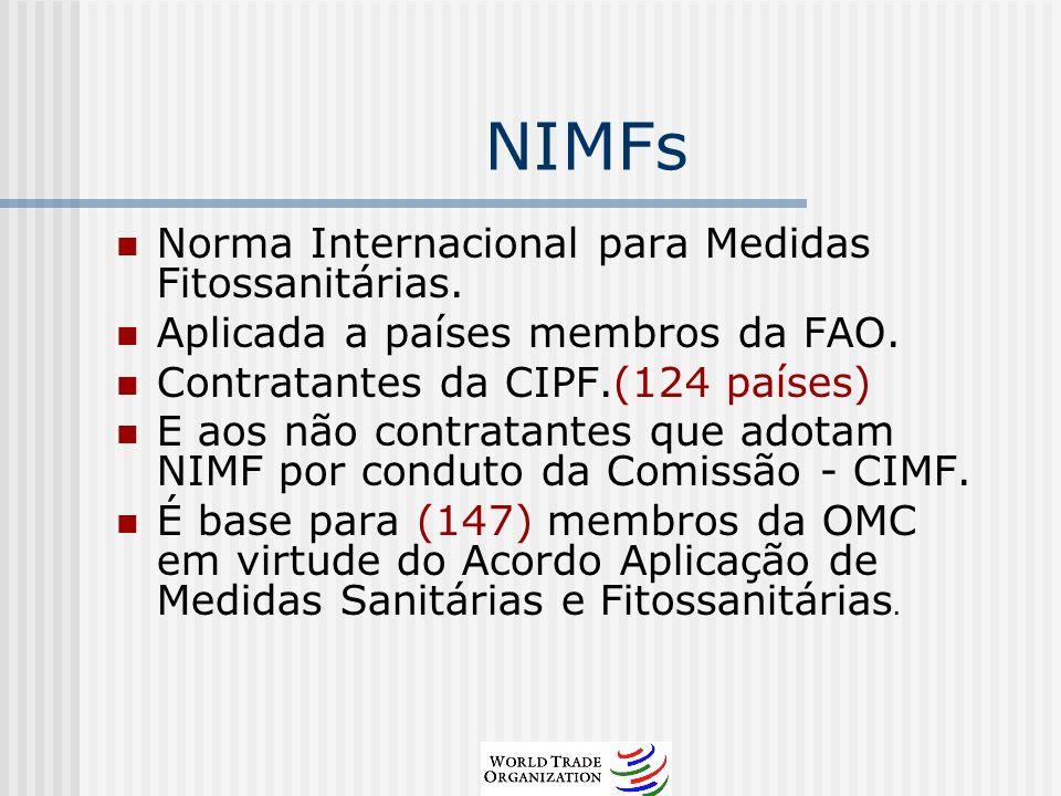 NIMFs Norma Internacional para Medidas Fitossanitárias. Aplicada a países membros da FAO. Contratantes da CIPF.(124 países) E aos não contratantes que