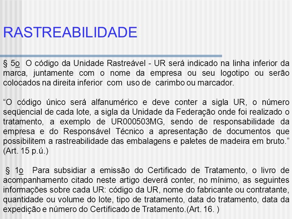RASTREABILIDADE § 5o O código da Unidade Rastreável - UR será indicado na linha inferior da marca, juntamente com o nome da empresa ou seu logotipo ou