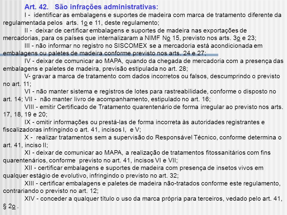 Art. 42. São infrações administrativas: I - identificar as embalagens e suportes de madeira com marca de tratamento diferente da regulamentada pelos a