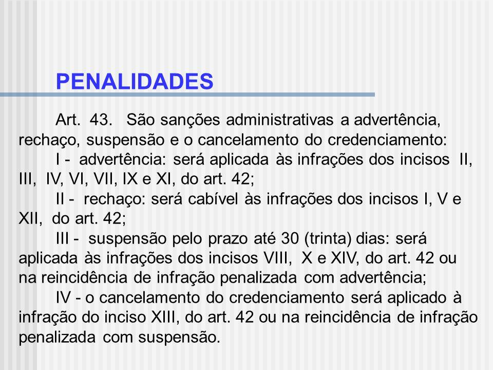 PENALIDADES Art. 43. São sanções administrativas a advertência, rechaço, suspensão e o cancelamento do credenciamento: I - advertência: será aplicada