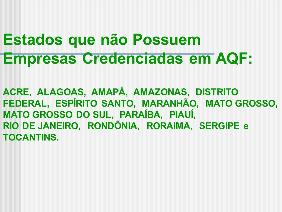 Estados que não Possuem Empresas Credenciadas em AQF: ACRE, ALAGOAS, AMAPÁ, AMAZONAS, DISTRITO FEDERAL, ESPÍRITO SANTO, MARANHÃO, MATO GROSSO, MATO GR