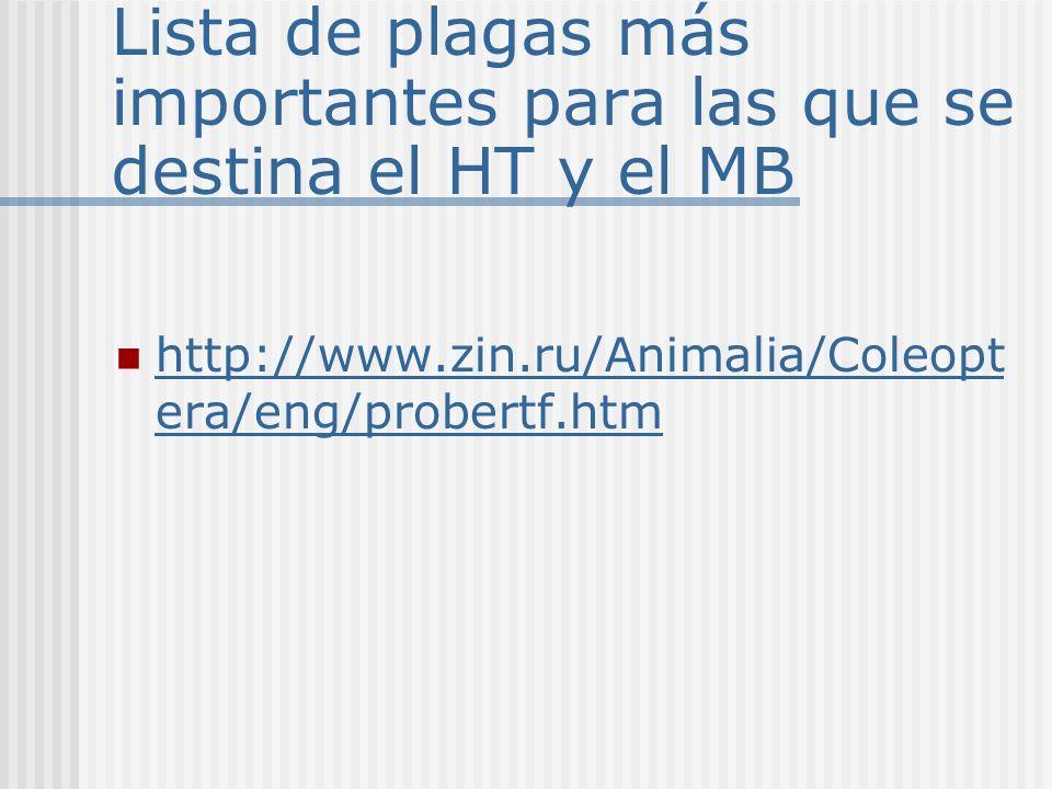 Lista de plagas más importantes para las que se destina el HT y el MB http://www.zin.ru/Animalia/Coleopt era/eng/probertf.htm http://www.zin.ru/Animal