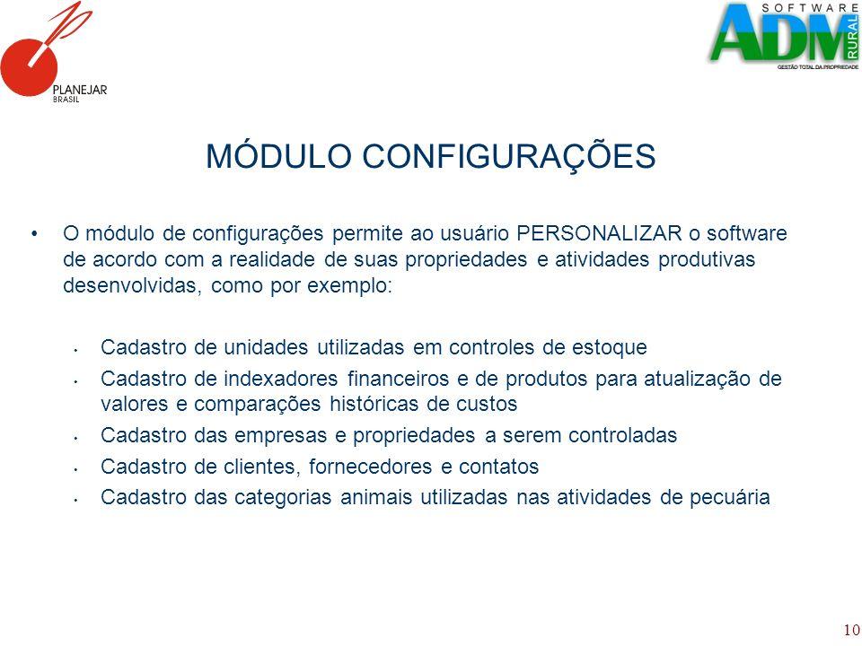 10 MÓDULO CONFIGURAÇÕES O módulo de configurações permite ao usuário PERSONALIZAR o software de acordo com a realidade de suas propriedades e atividad