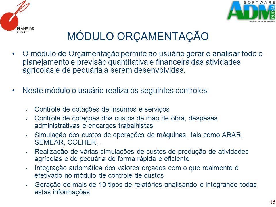 15 MÓDULO ORÇAMENTAÇÃO O módulo de Orçamentação permite ao usuário gerar e analisar todo o planejamento e previsão quantitativa e financeira das ativi