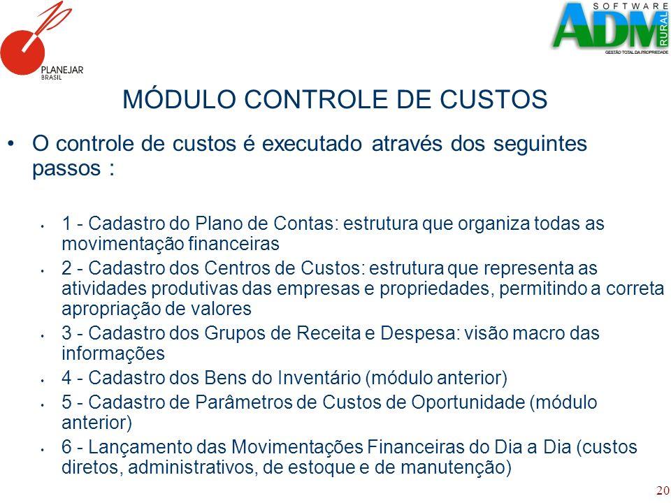 20 MÓDULO CONTROLE DE CUSTOS O controle de custos é executado através dos seguintes passos : 1 - Cadastro do Plano de Contas: estrutura que organiza t