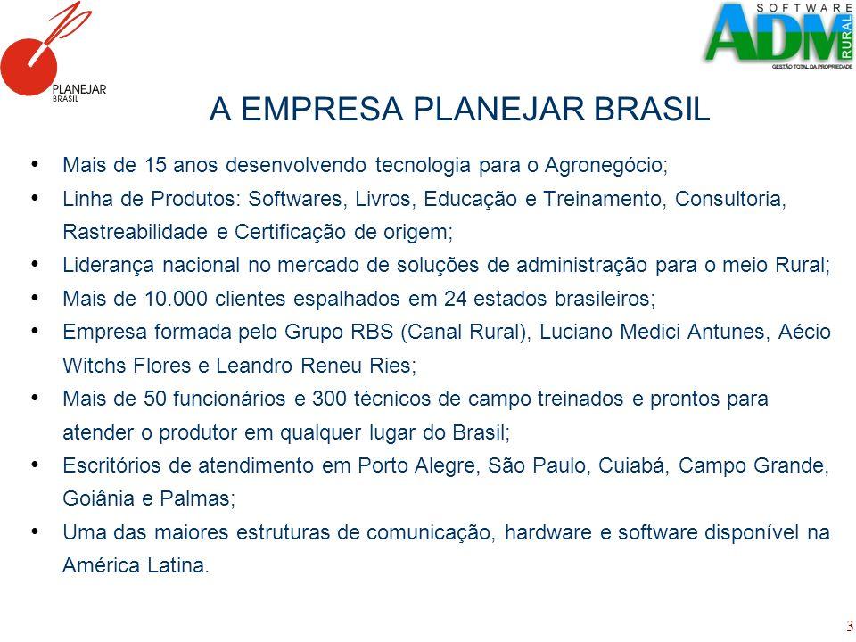 3 A EMPRESA PLANEJAR BRASIL Mais de 15 anos desenvolvendo tecnologia para o Agronegócio; Linha de Produtos: Softwares, Livros, Educação e Treinamento,