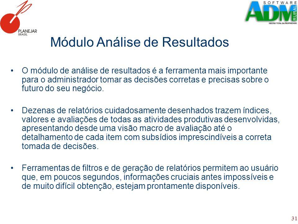 31 Módulo Análise de Resultados O módulo de análise de resultados é a ferramenta mais importante para o administrador tomar as decisões corretas e pre