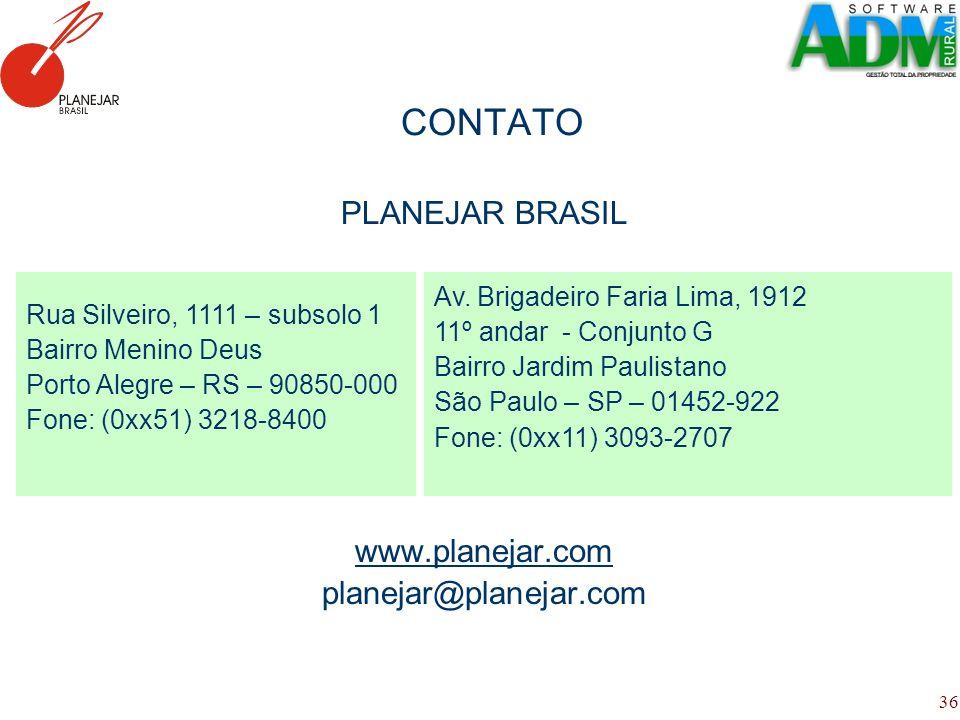 36 CONTATO PLANEJAR BRASIL www.planejar.com planejar@planejar.com Rua Silveiro, 1111 – subsolo 1 Bairro Menino Deus Porto Alegre – RS – 90850-000 Fone