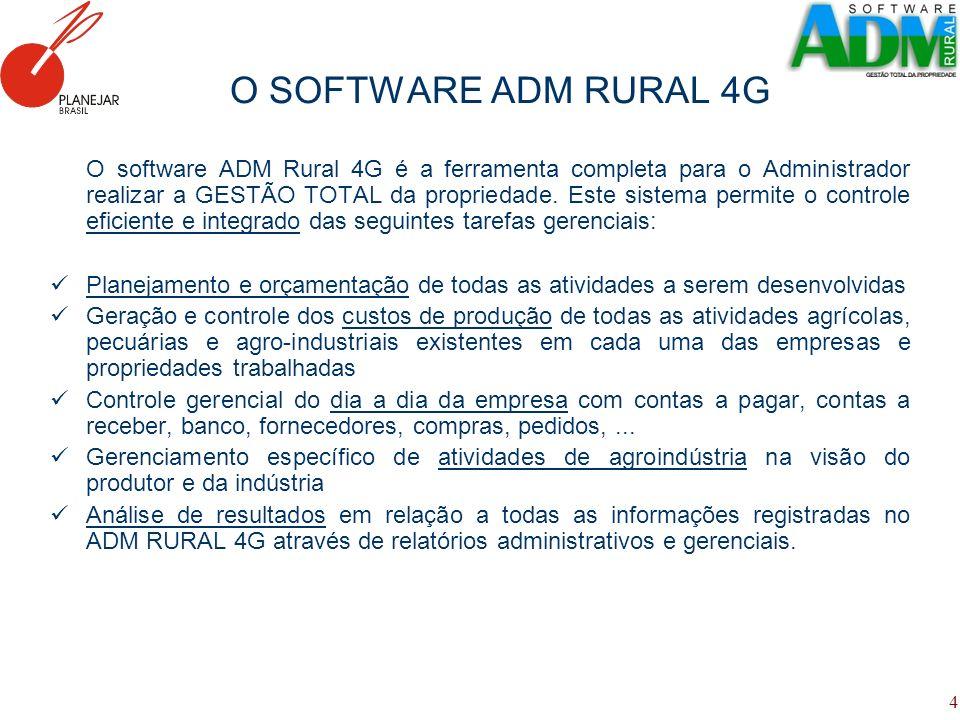 4 O SOFTWARE ADM RURAL 4G O software ADM Rural 4G é a ferramenta completa para o Administrador realizar a GESTÃO TOTAL da propriedade. Este sistema pe