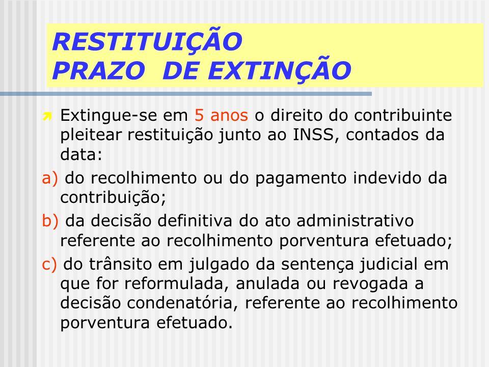 RESTITUIÇÃO a) A contribuição previdenciária, atualização monetária, juros moratórios e multa correspondentes recolhidas indevidamente por empresa ou