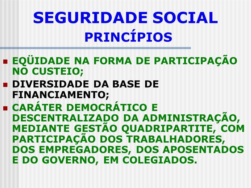 SEGURIDADE SOCIAL PRINCÍPIOS UNIVERSALIDADE DA COBERTURA E DO ATENDIMENTO; UNIFORMIDADE E EQUIVALÊNCIA DOS BENEFÍCIOS E SERVIÇOS ÀS POPULAÇÕES URBANAS