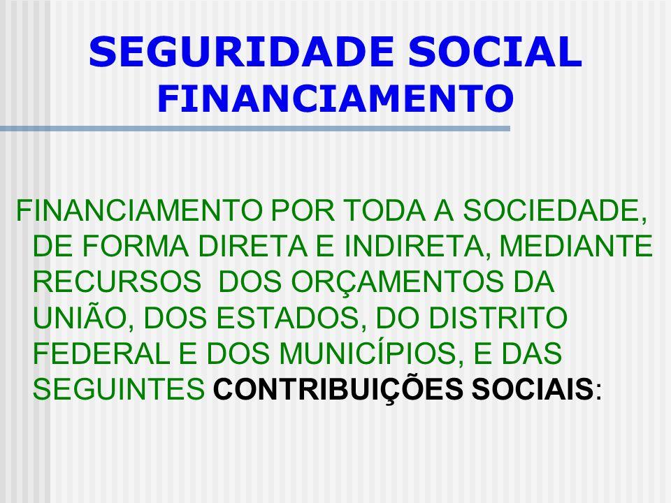 SEGURIDADE SOCIAL PRINCÍPIOS EQÜIDADE NA FORMA DE PARTICIPAÇÃO NO CUSTEIO; DIVERSIDADE DA BASE DE FINANCIAMENTO; CARÁTER DEMOCRÁTICO E DESCENTRALIZADO