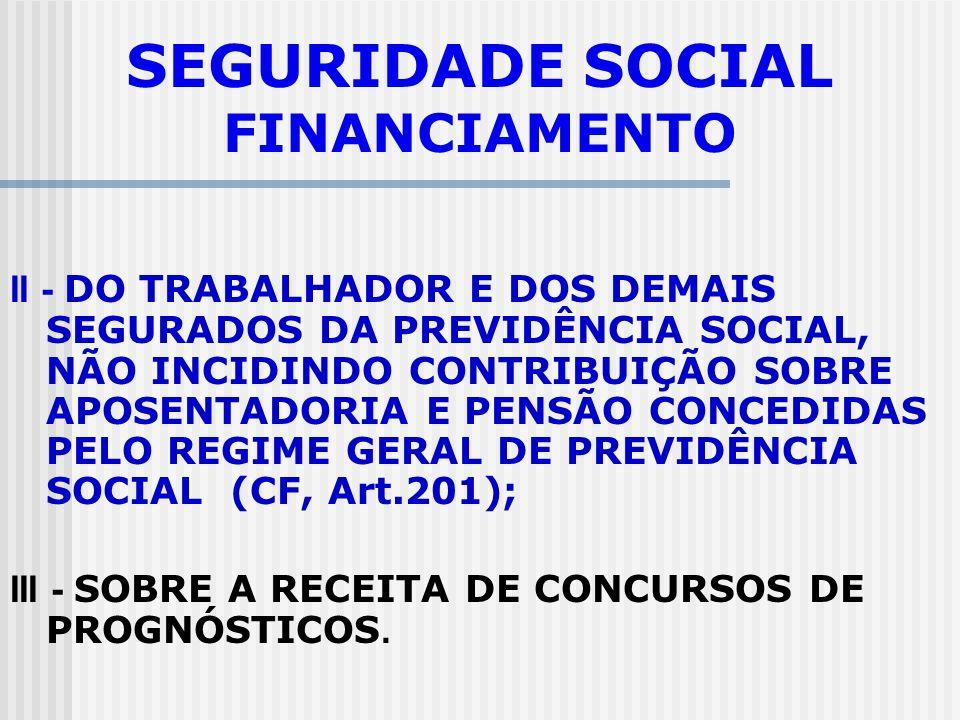 SEGURIDADE SOCIAL FINANCIAMENTO I -DO EMPREGADOR, DA EMPRESA E DA ENTIDADE A ELA EQUIPARADA, NA FORMA DA LEI, INCIDENTES SOBRE: a) A FOLHA DE SALÁRIOS