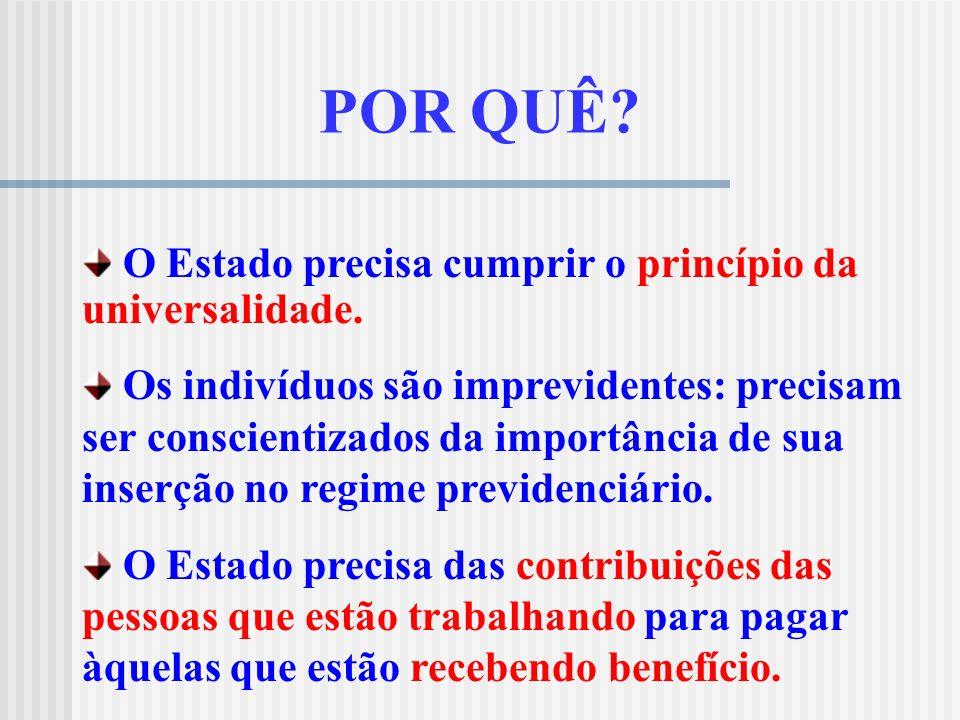 PRINCÍPIO DA UNIVERSALIDADE DA COBERTURA E DO ATENDIMENTO Cobertura: a legislação previdenciária brasileira garante cobertura a todas as categorias pr