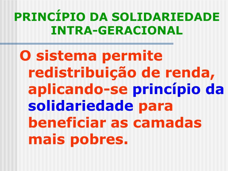 PRINCÍPIO DA EQÜIDADE A contribuição ao sistema deve ser estabelecida de acordo com a capacidade contributiva do indivíduo. A retribuição ao segurado