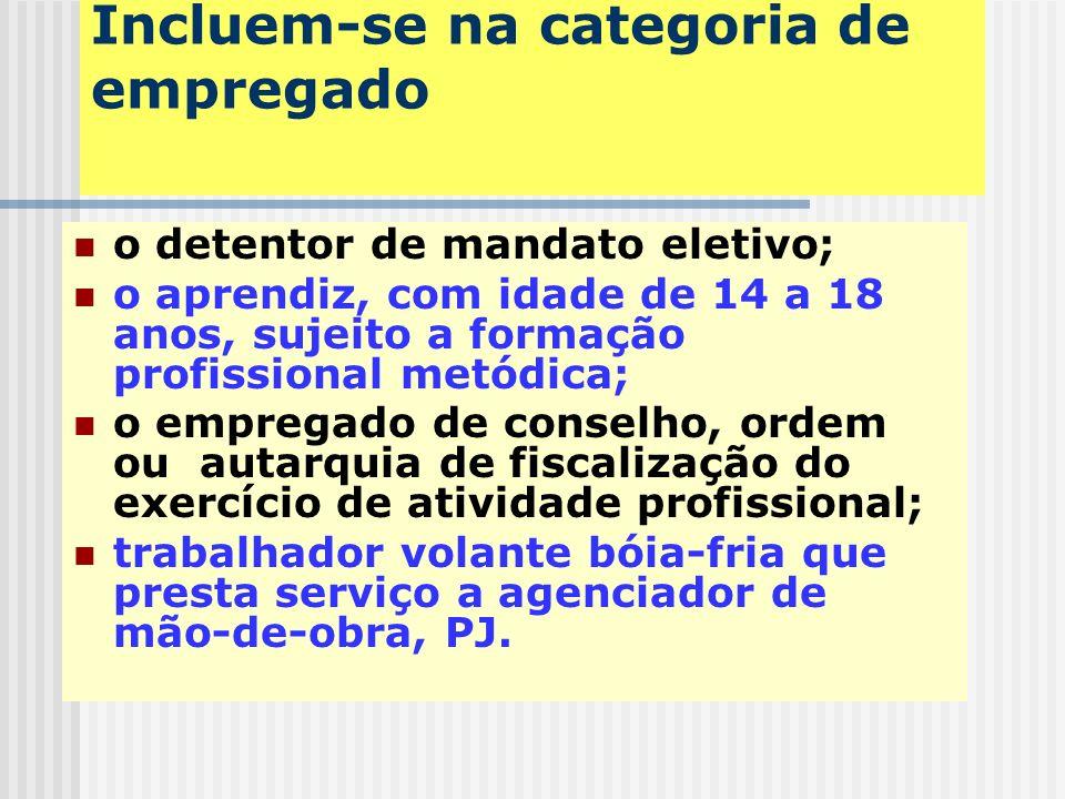Incluem-se na categoria de empregado trabalhadores temporários (Lei 6.019/74); diretores-empregados; Servidor público efetivo não vinculado a regime p
