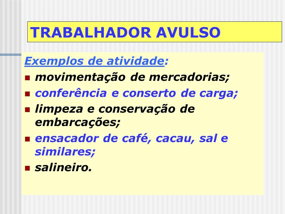 TRABALHADOR AVULSO Intermediação obrigatória Órgão Gestor de Mão-de-obra - OGMO: atividades portuárias Lei 8.630/93 Sindicato da categoria: demais ati
