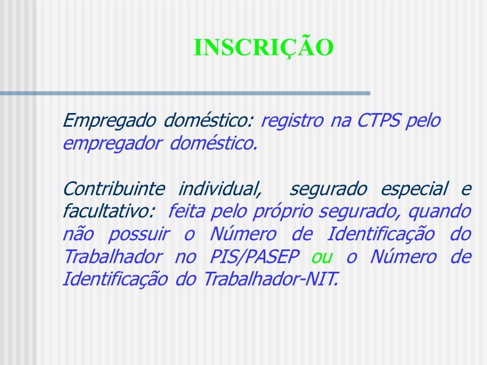 INSCRIÇÃO Segurado empregado: assinatura do contrato de trabalho e registro na CTPS pelo empregador. Trabalhador avulso: registro no sindicato de clas